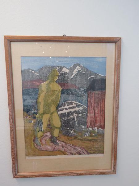 Oliver Sylthe (1905-1970) - Fiskar med garn/båt/naust