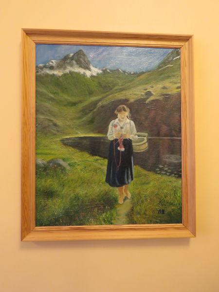 Anker Beckstrøm - Utan tittel. Motiv:Kvinne som sankar i fjellet