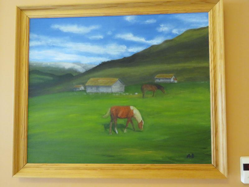 Anker Beckstrøm - Hestar på beite på stølen