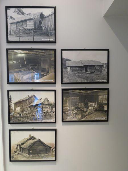 6 stk foto av årestover og andre gamle bygg
