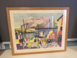 Arne Hegglund - Motiv: Fiskarar på  kaia